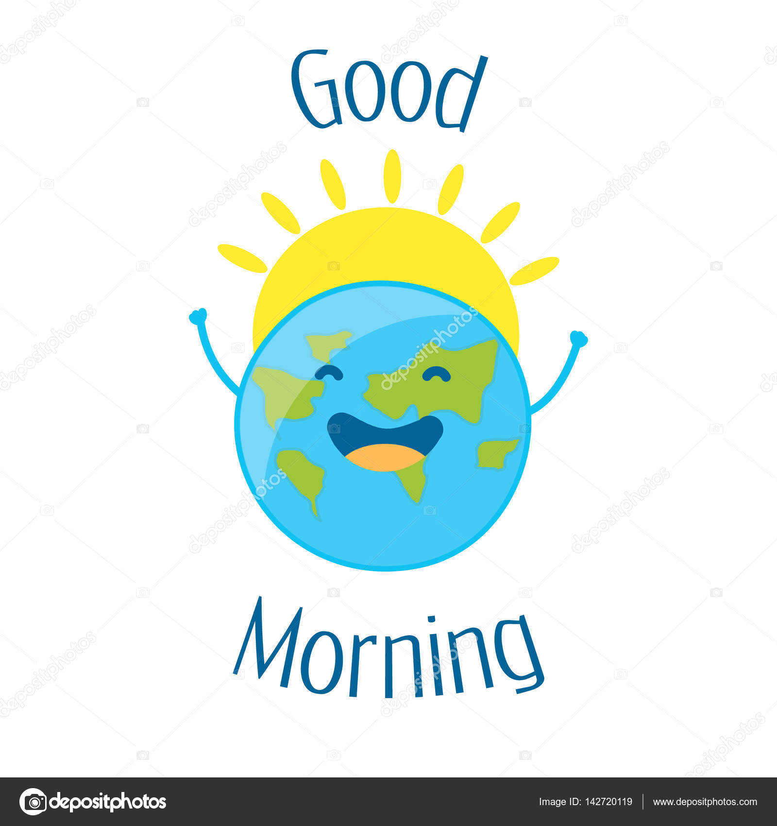 Good Morning Card With Fun Earth And Sun Vector Stock Vector