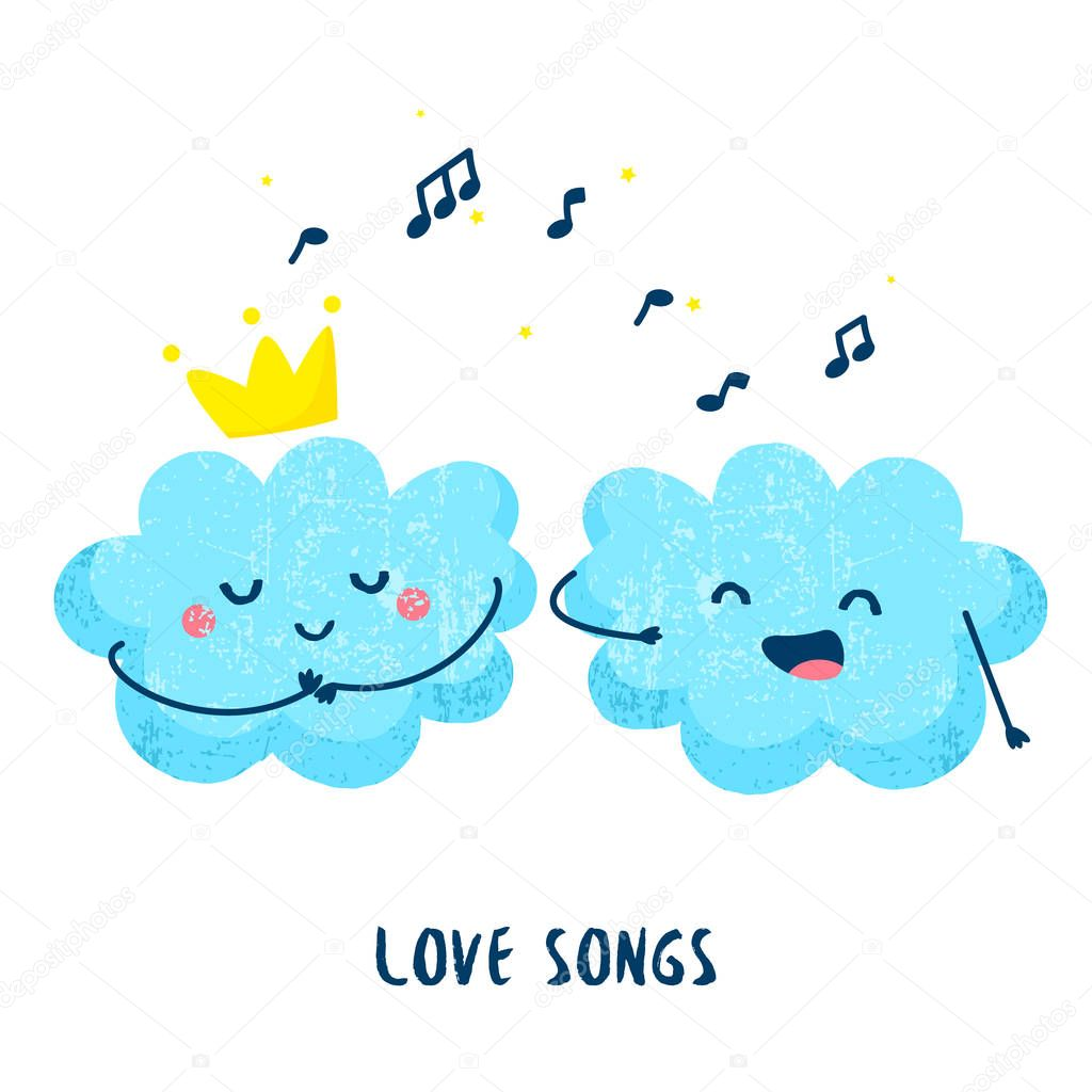 Cute cloud sings a love song for the princess. Flat style. Vector