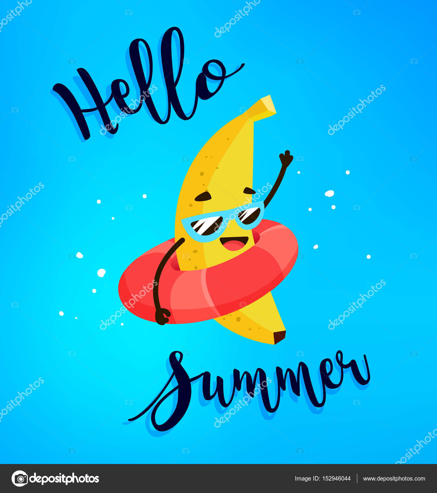 Funny Cartoon Banana With Life Buoy. Hello Summer Card. Flat Style. Vector  Illustration