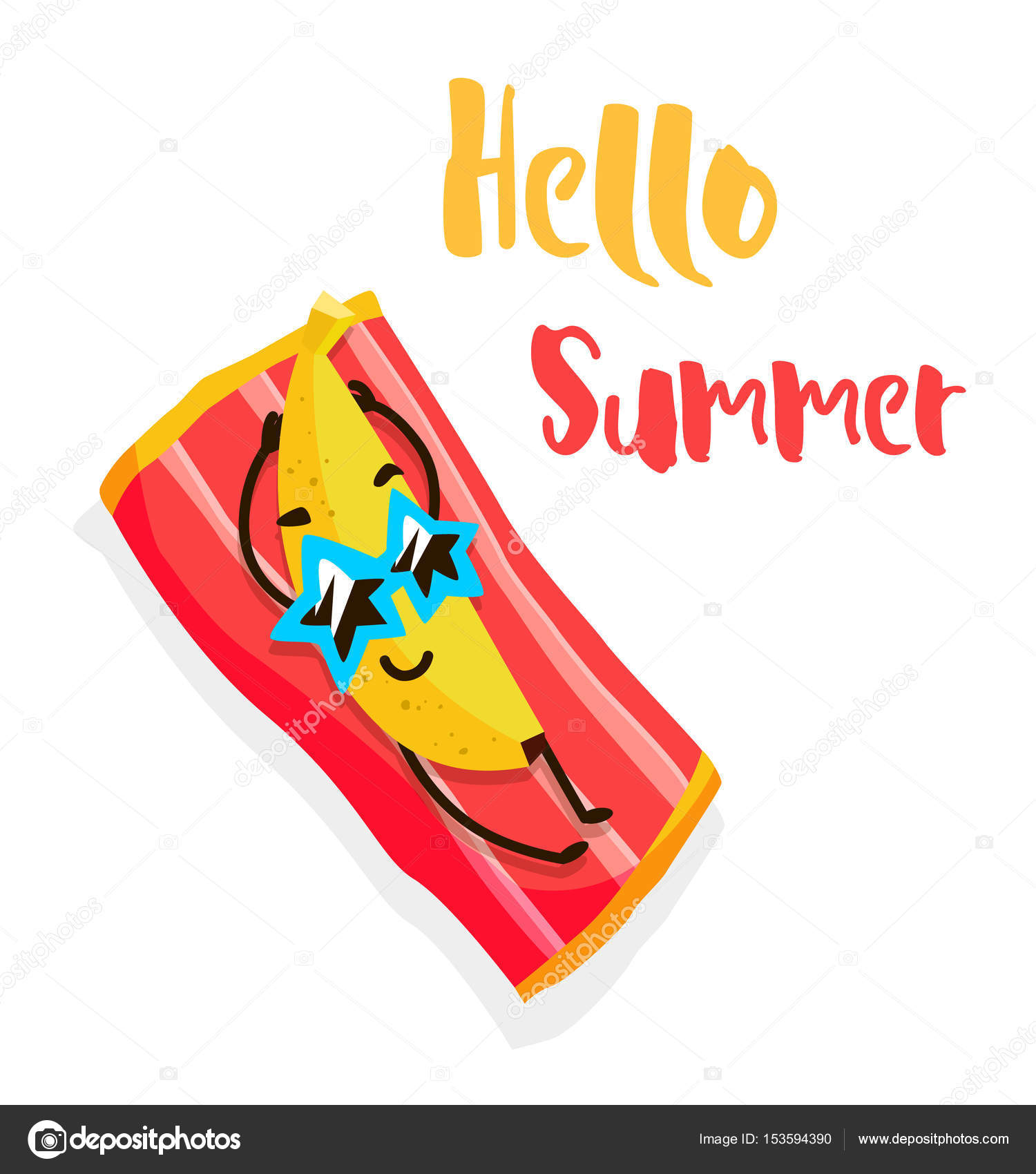 Funny Cartoon Banana With Sunglasses Tans On The Beach. Hello Summer. Flat  Style.