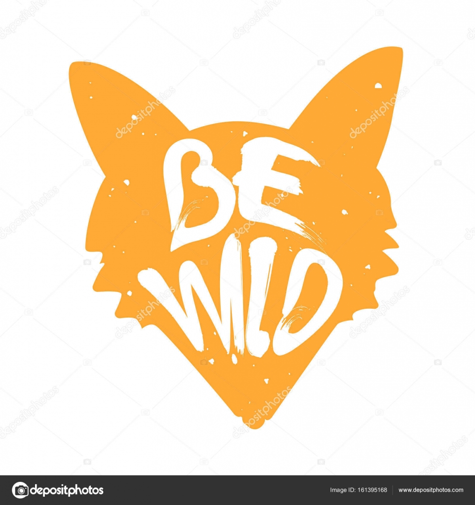 Silhouette of fox with lettering text be wild vector color label stock vector