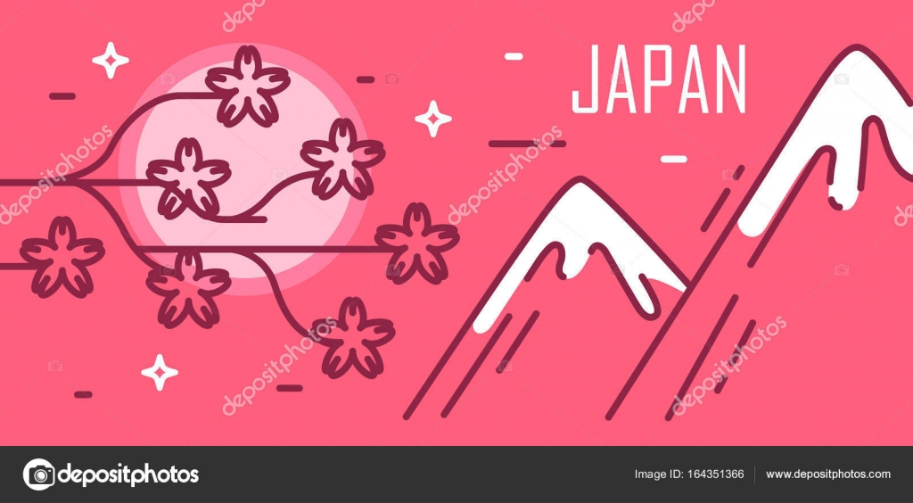 Japonsko Karta Mesic Sakura A Hory Tenka Linie Plochy Design