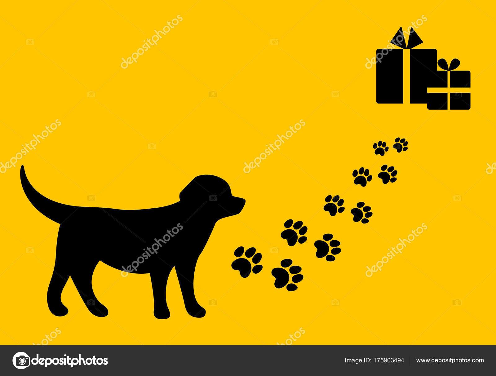 Trip Christmas Gifts Dog Path Paw Prints Flat Design — Stock Vector ...