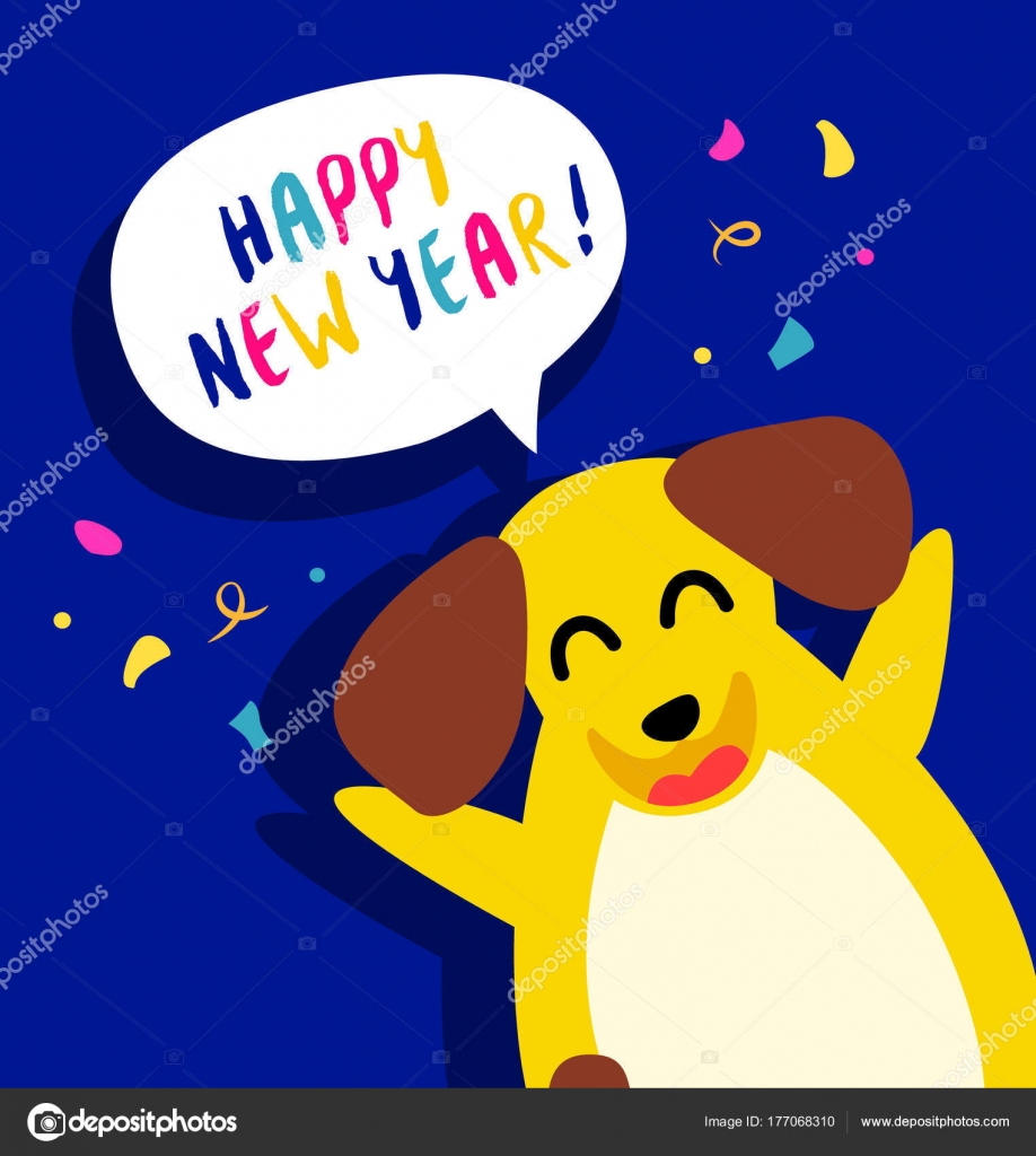 Happy New Year Card Fun Yellow Dog Confetti Blue Background Stock