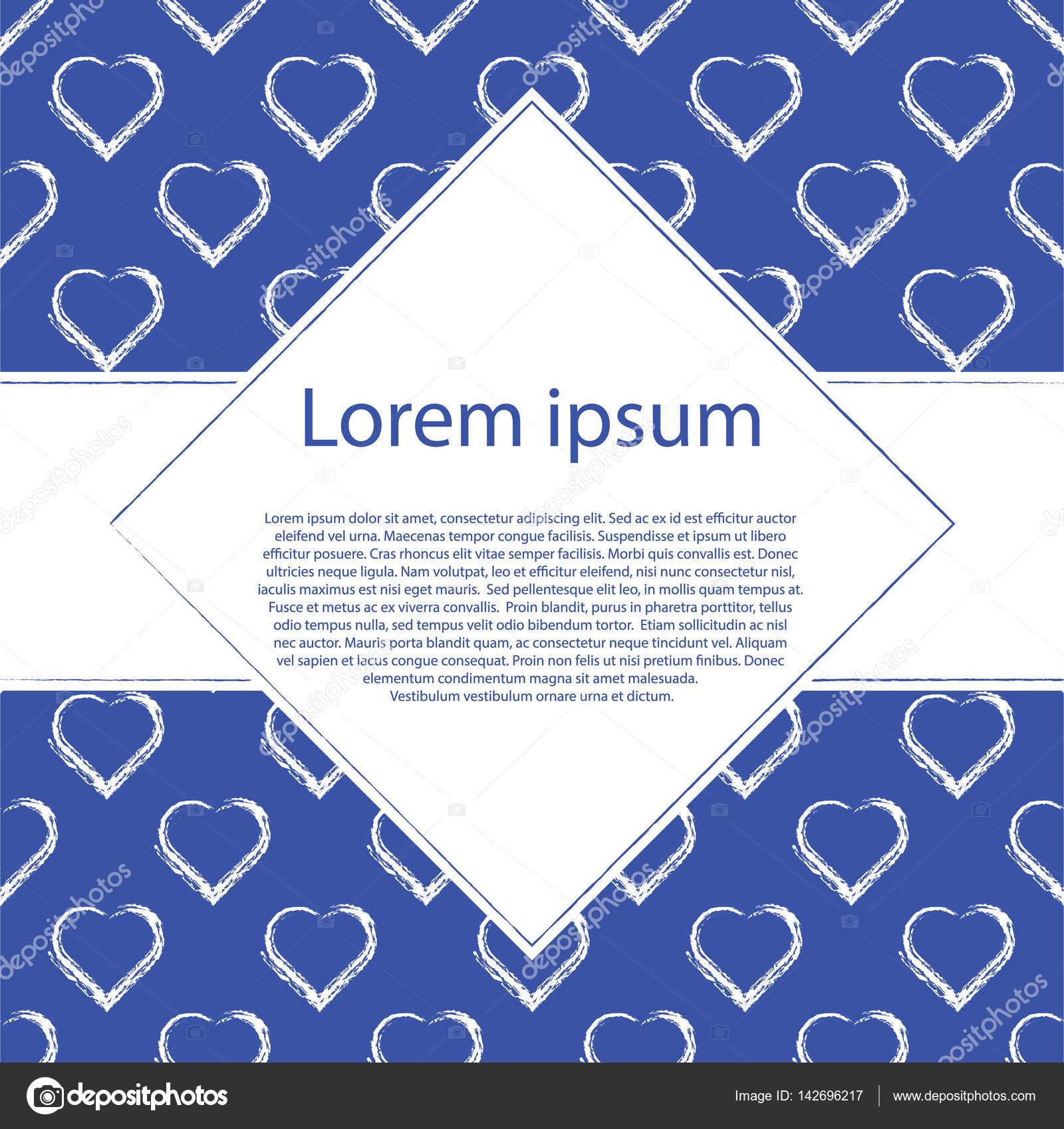 Valentinstag Karte, Banner Vorlage. Weißen Herzen, auf blauem ...