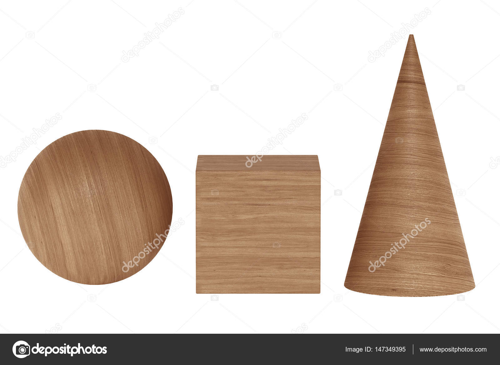 Wooden 3D rendering figures geometric with shadows isolated