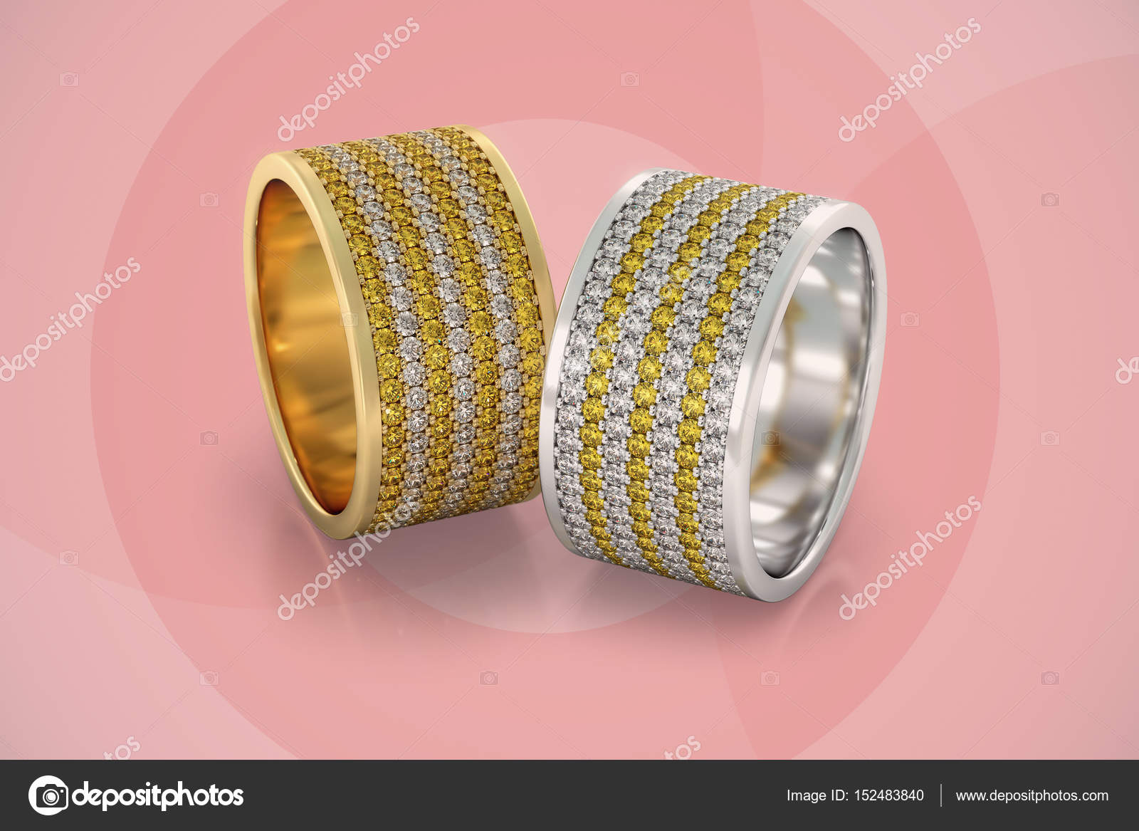 Jewelry wedding bands diamonds rings gold 3D rendering — Stock Photo ...