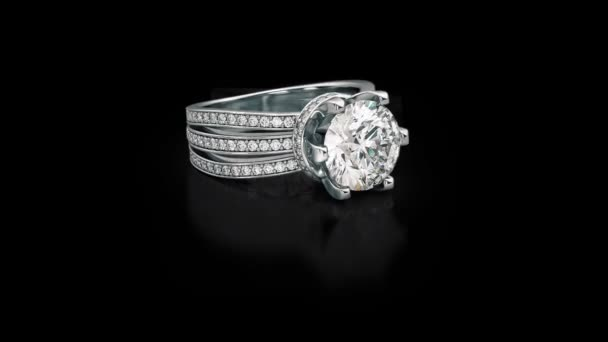 Jewelry engagement white gold ring with diamonds on black 3D