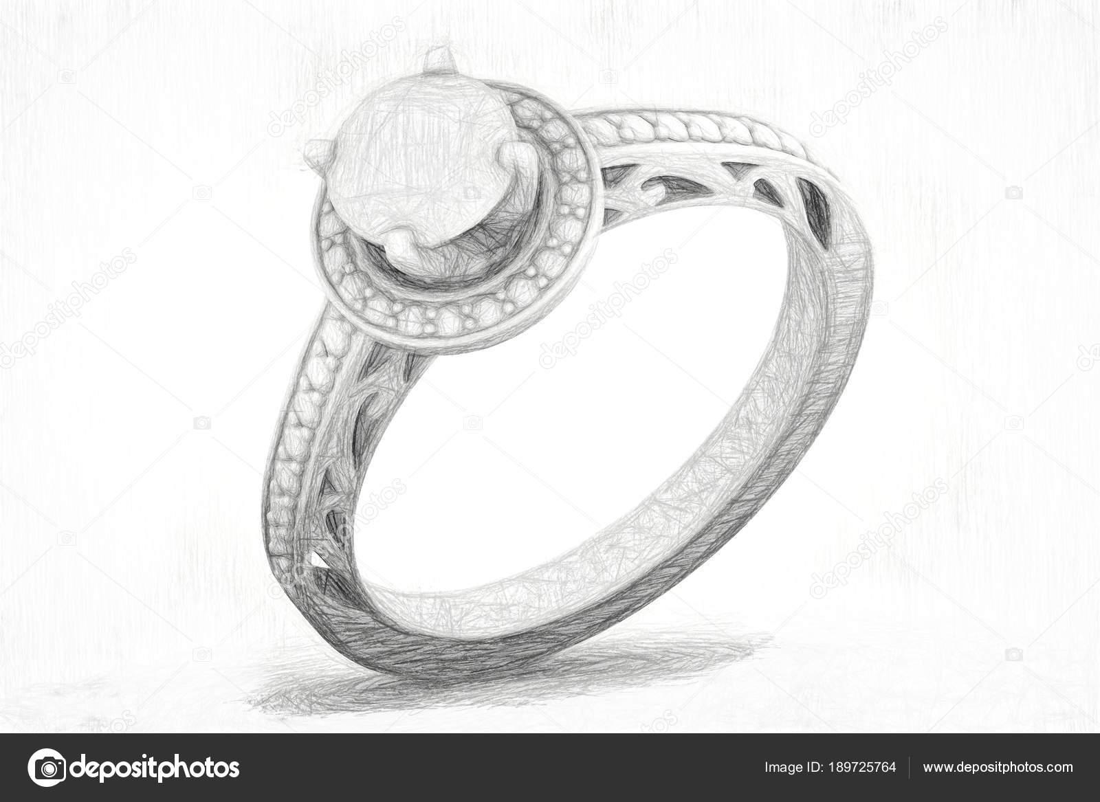 Textura De Dibujo De Joyería Del Anillo De Compromiso Render 3d