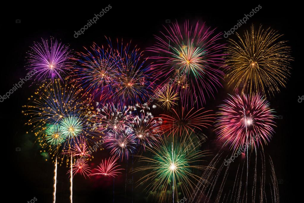 colourful fireworks on dark background ストック写真 minervastock