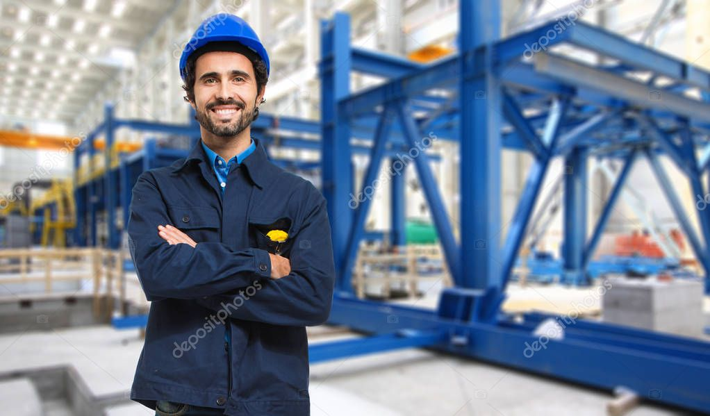 man in an industrial facility