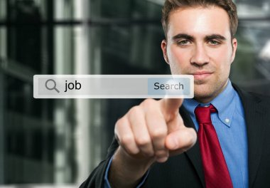 Man searching job on internet stock vector