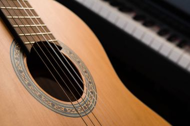Guitar closeup, piano