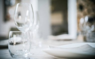 Glasses on a restaurant table