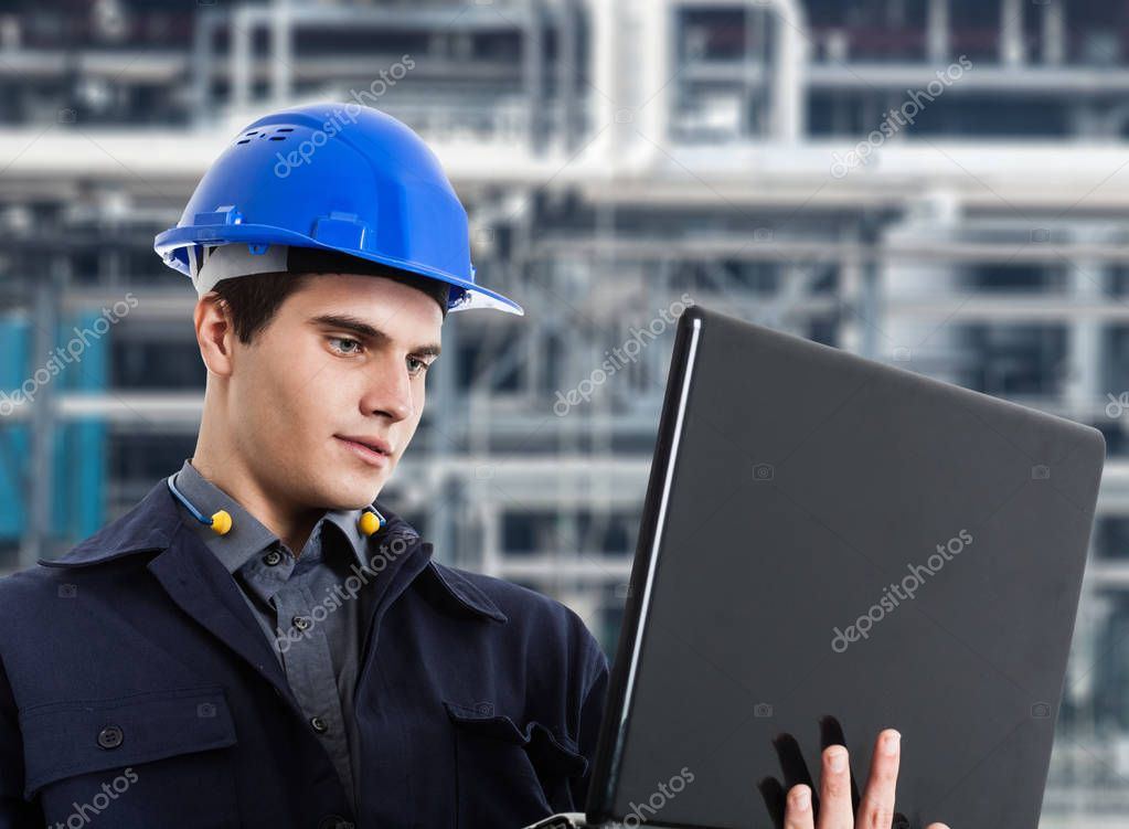 Engineer using a laptop