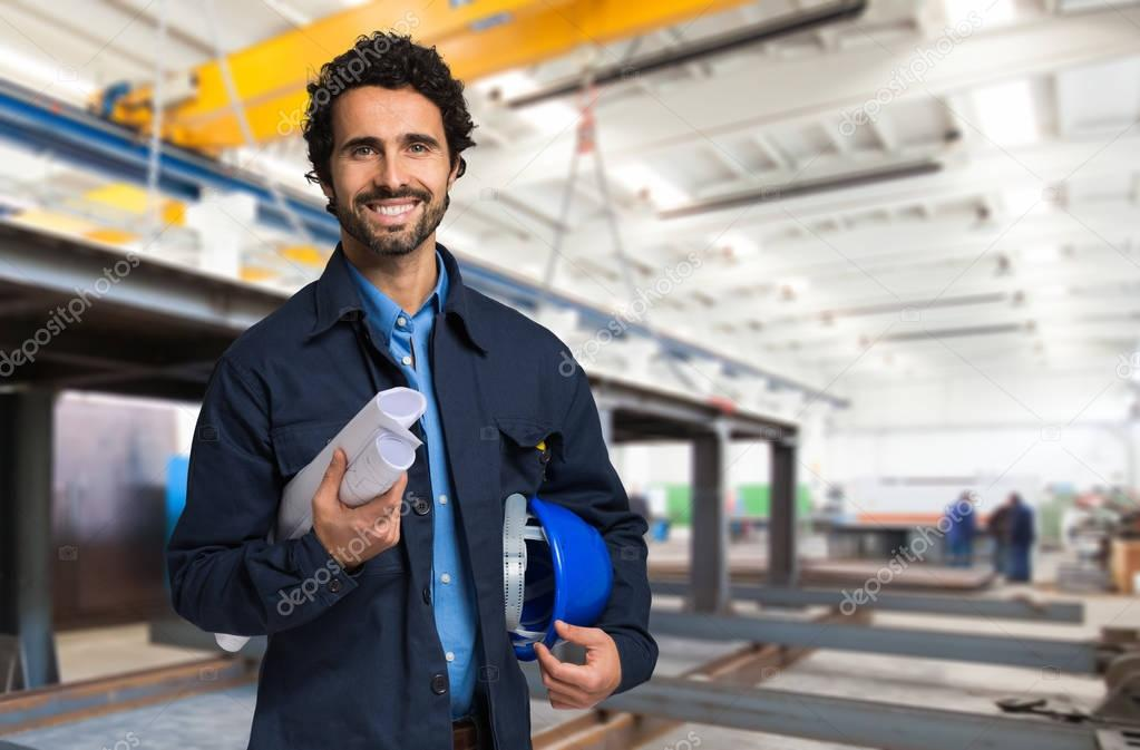 Smiling mechanical worker portrait