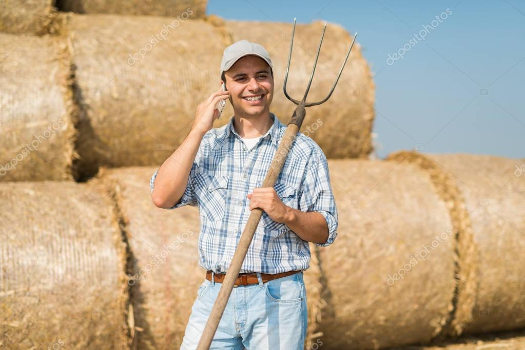 farmer talking on the phone