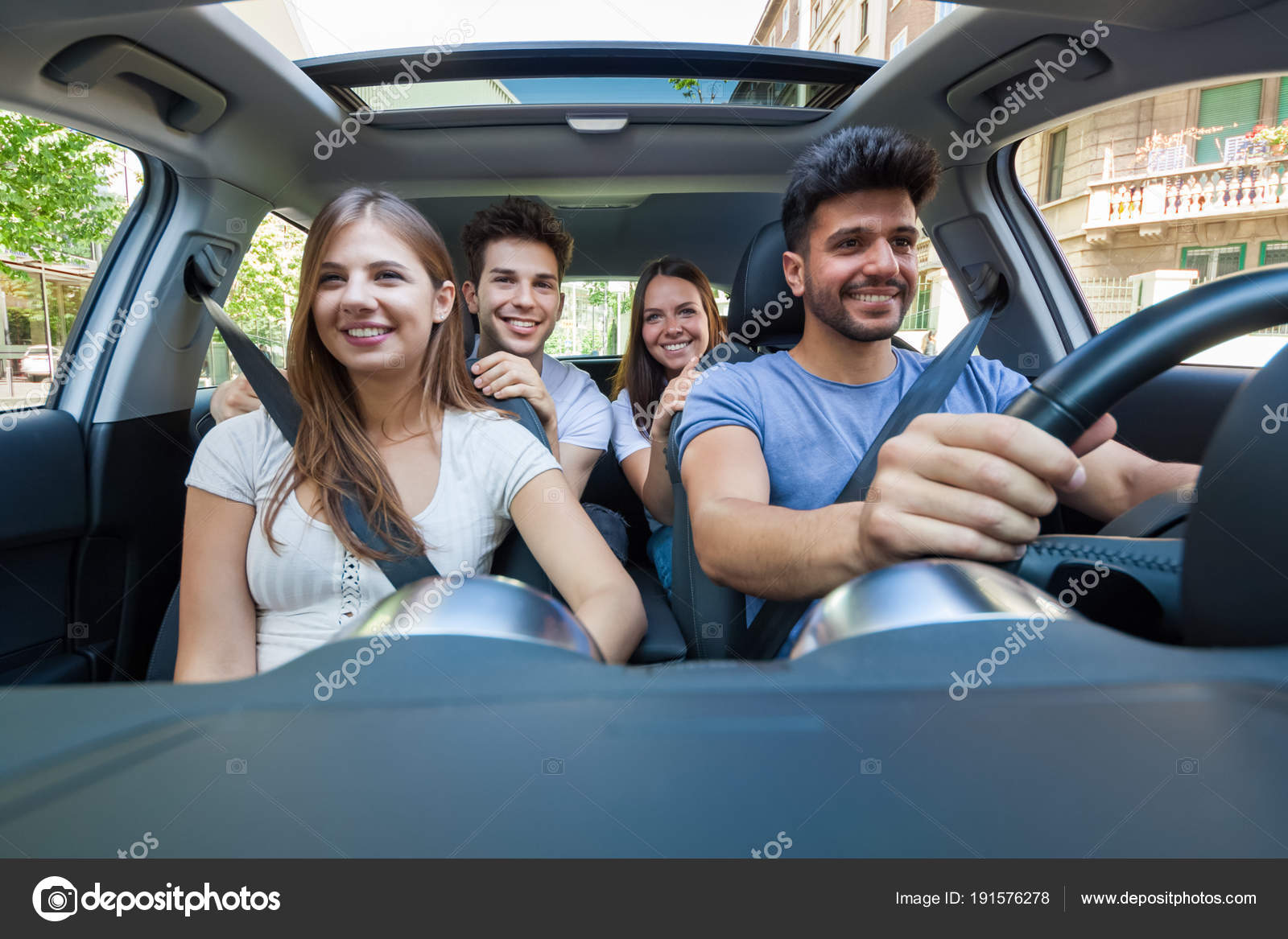 The Car Group >> Group Happy Friends Car Stock Photo C Minervastock 191576278