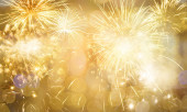 Nový rok ohňostroj zlatý zadek pozadí