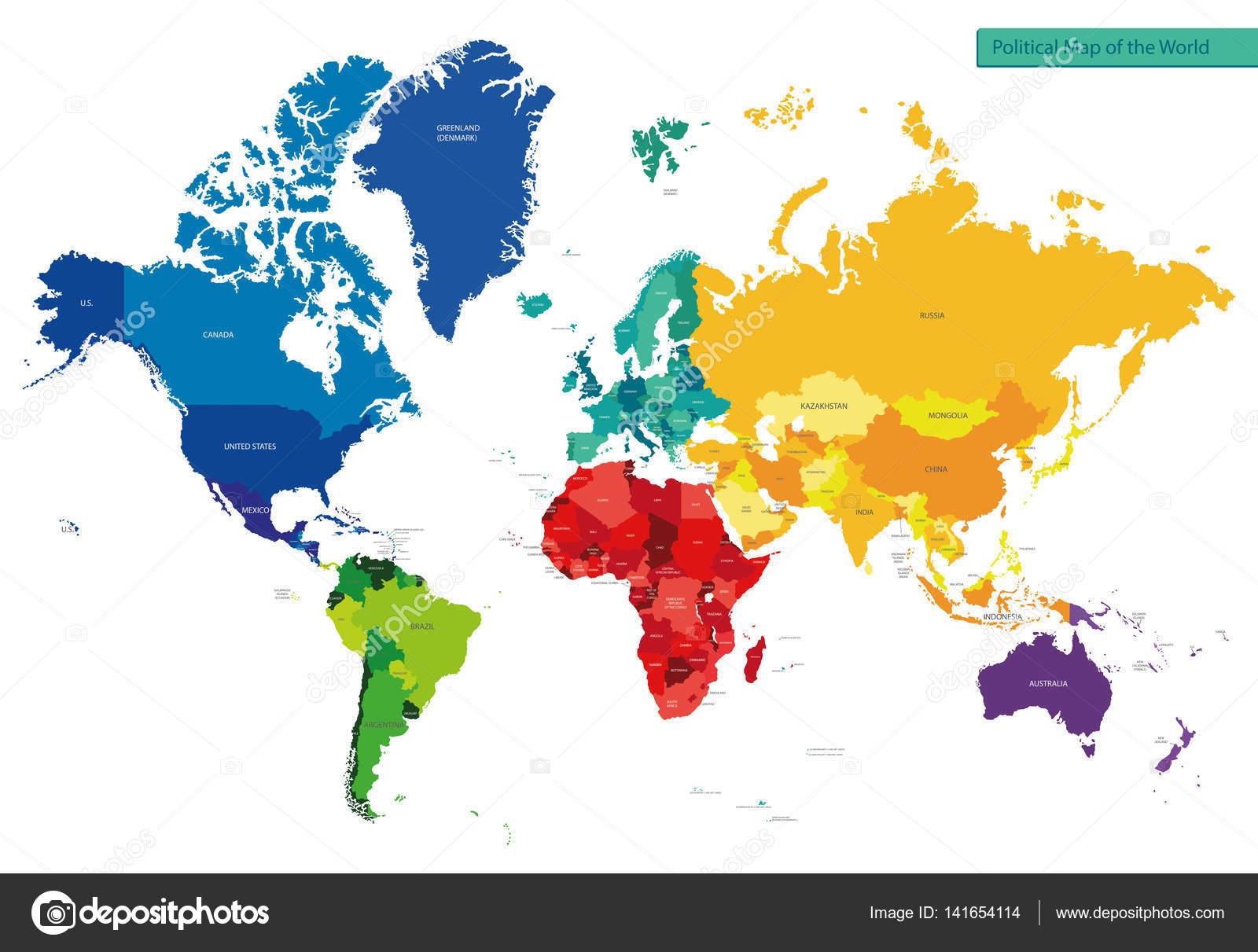 mapa politico do mundo Mapa Político Mundo — Vetor de Stock © martinova4 #141654114 mapa politico do mundo