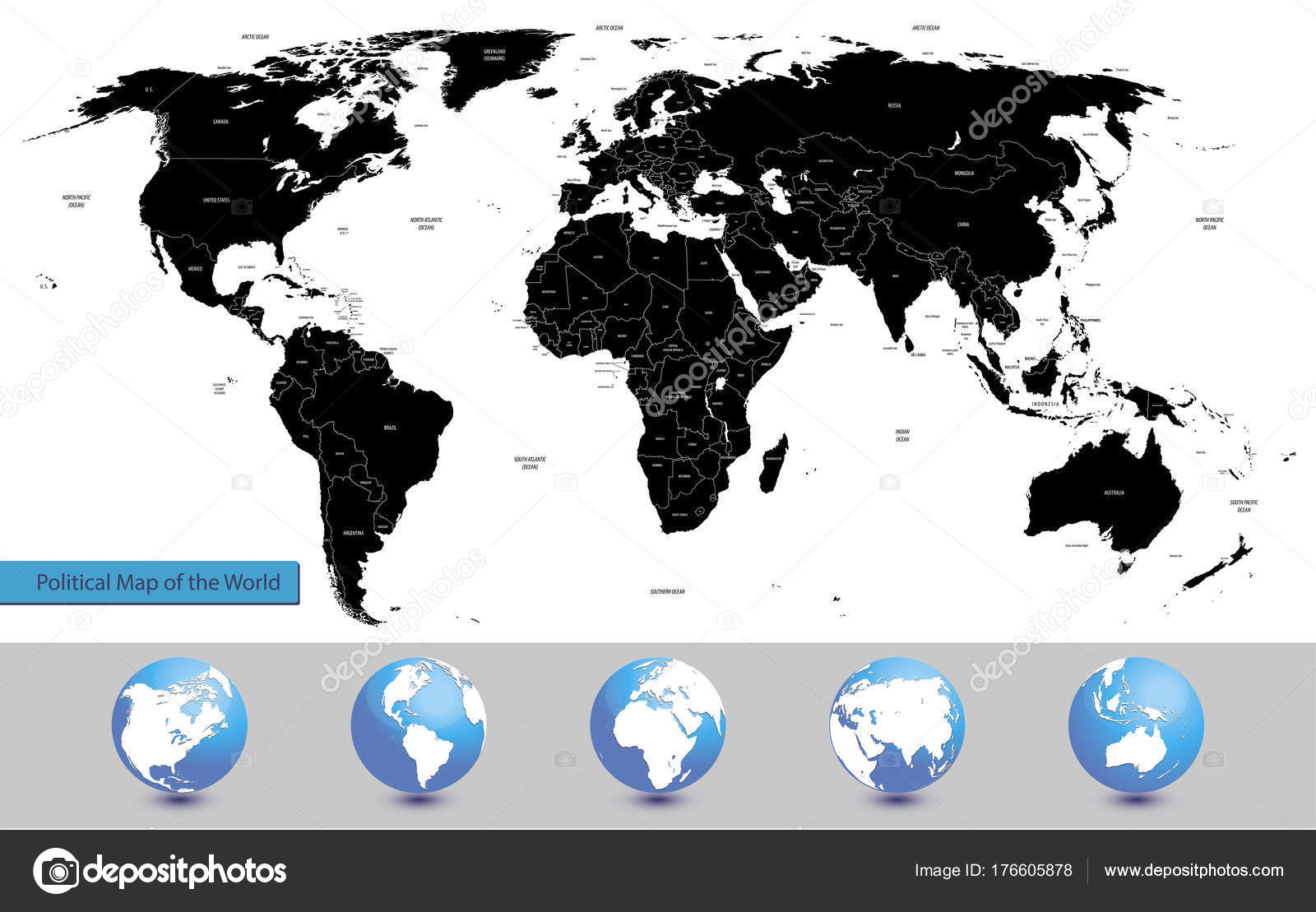 Vector illustration political map world globes stock vector vector illustration political map world globes stock vector gumiabroncs Choice Image