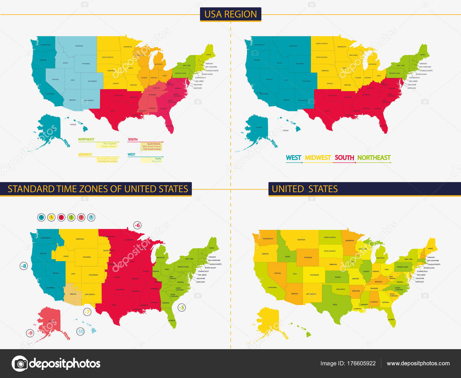 United States Standard Time Zones United States Usa Region ...