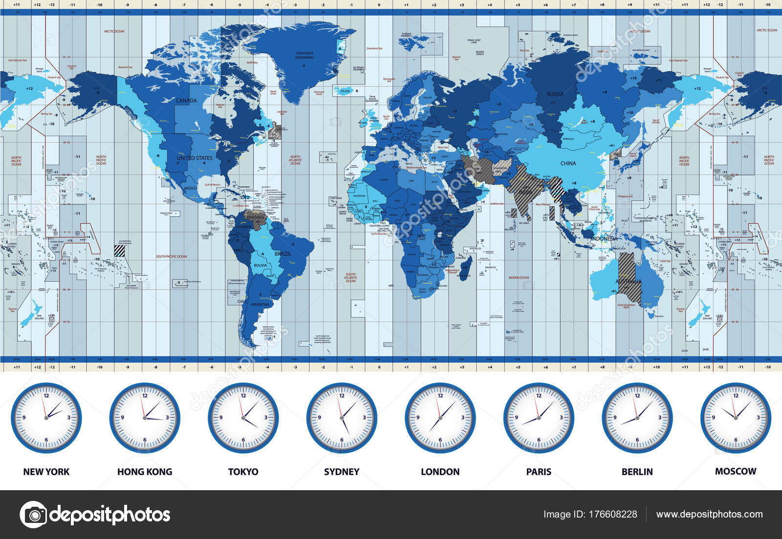 Map World Standard Time Zones Blue Colors — Stock Vector ...