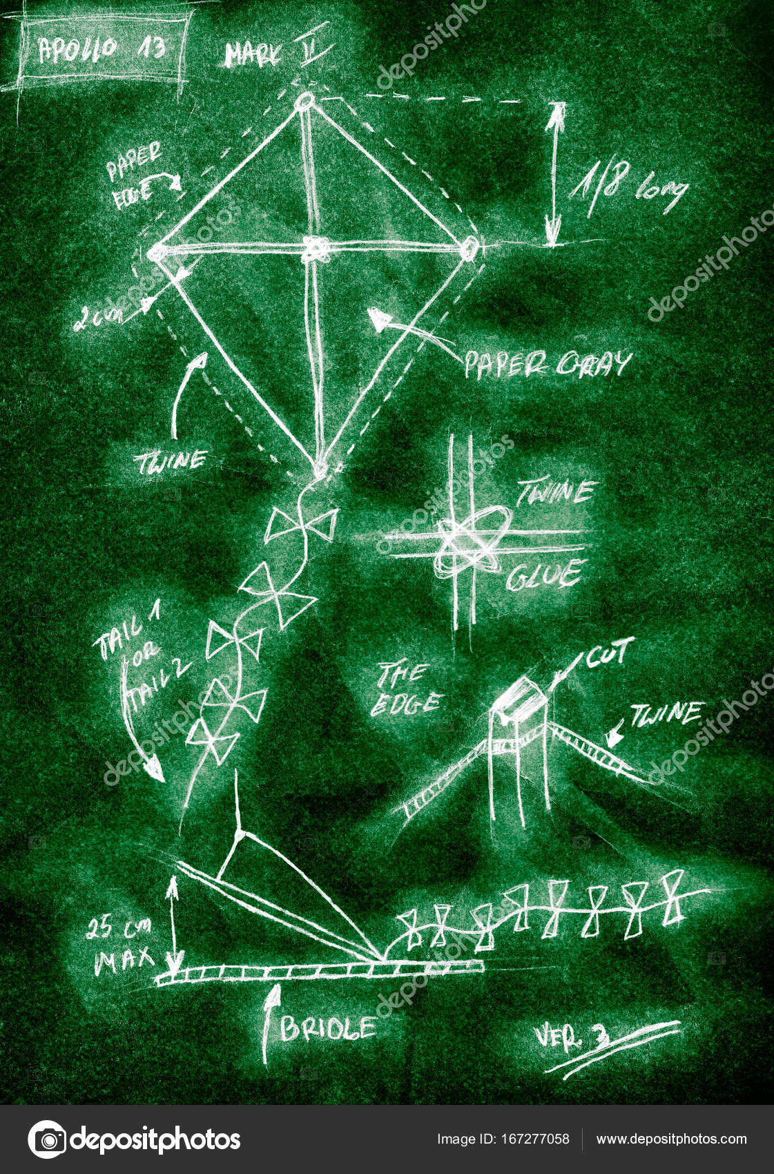 Green Handmade Diagram Of How To Build A Kite Stock Photo
