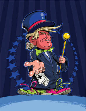 Cartoon style Donald Trump as a magician, with cylinder hat, varicoloured shoes, magic wand, playing cards and stars and stripes on background.