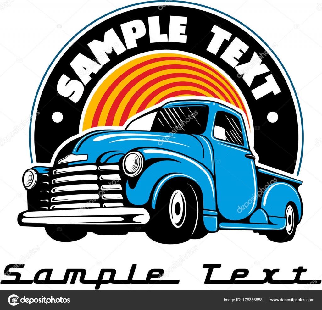 Carro Chevy Azul Vintage Insignia Del Coche Vintage Vector — Vector ...
