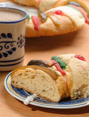 Chocolate cup with Rosca de reyes, Epiphany cake, Kings cake