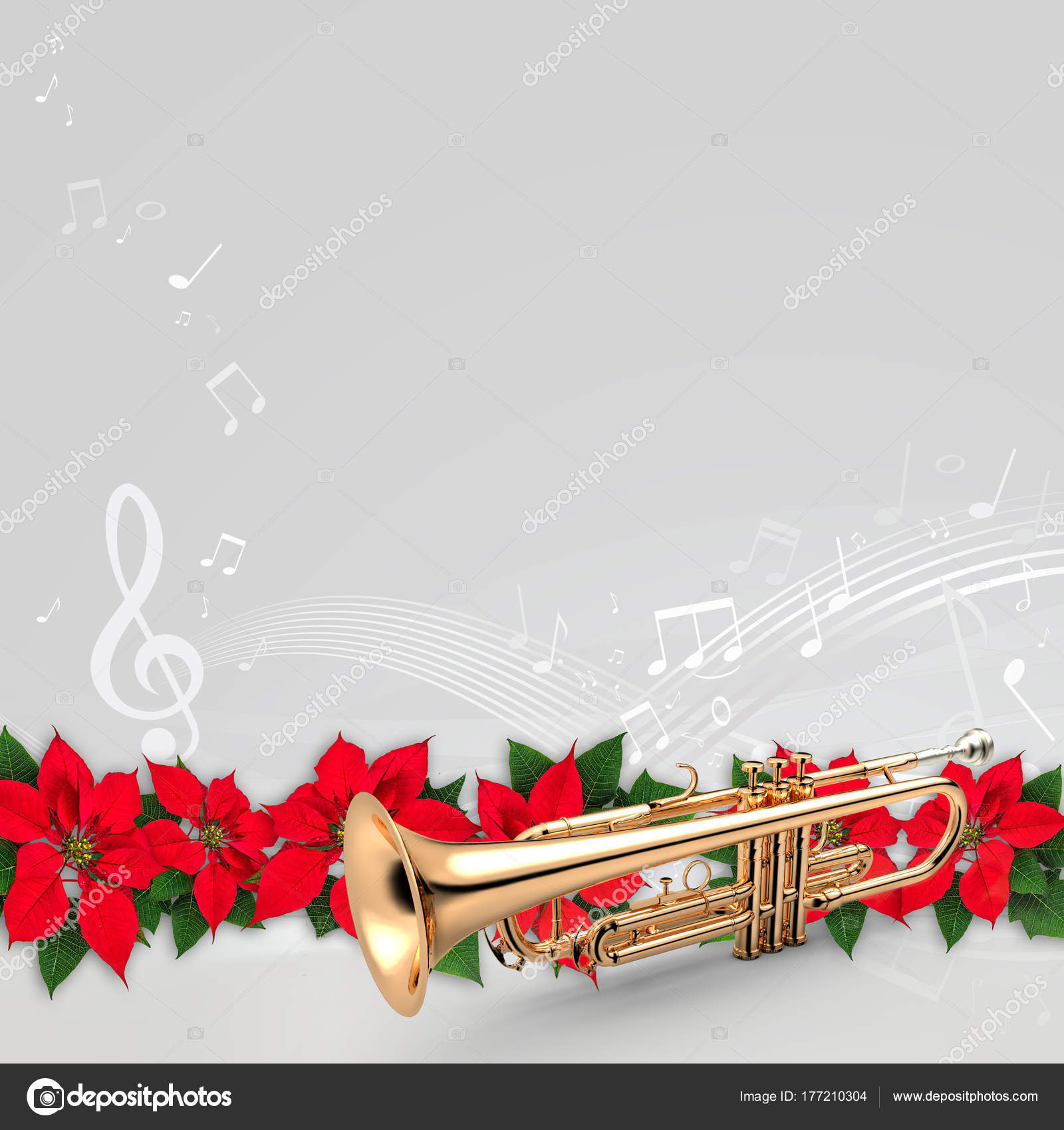 Christmas Trumpet Images.Trumpet With Red Poinsettia Flower Christmas Ornament