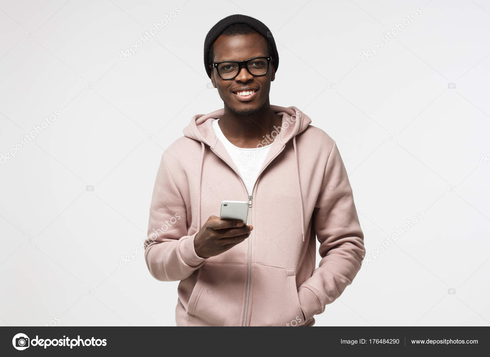 dd8d07e553d5 Closeup portrait of young African American man in casual clothes and  spectacles pictured isolated on white background ...
