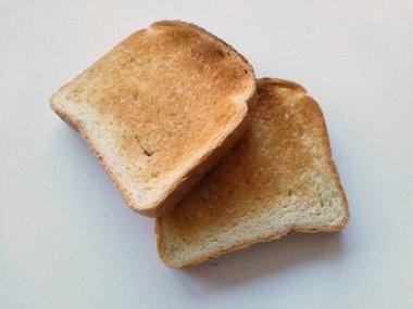chleb tostowy na biaym tle widok z gry