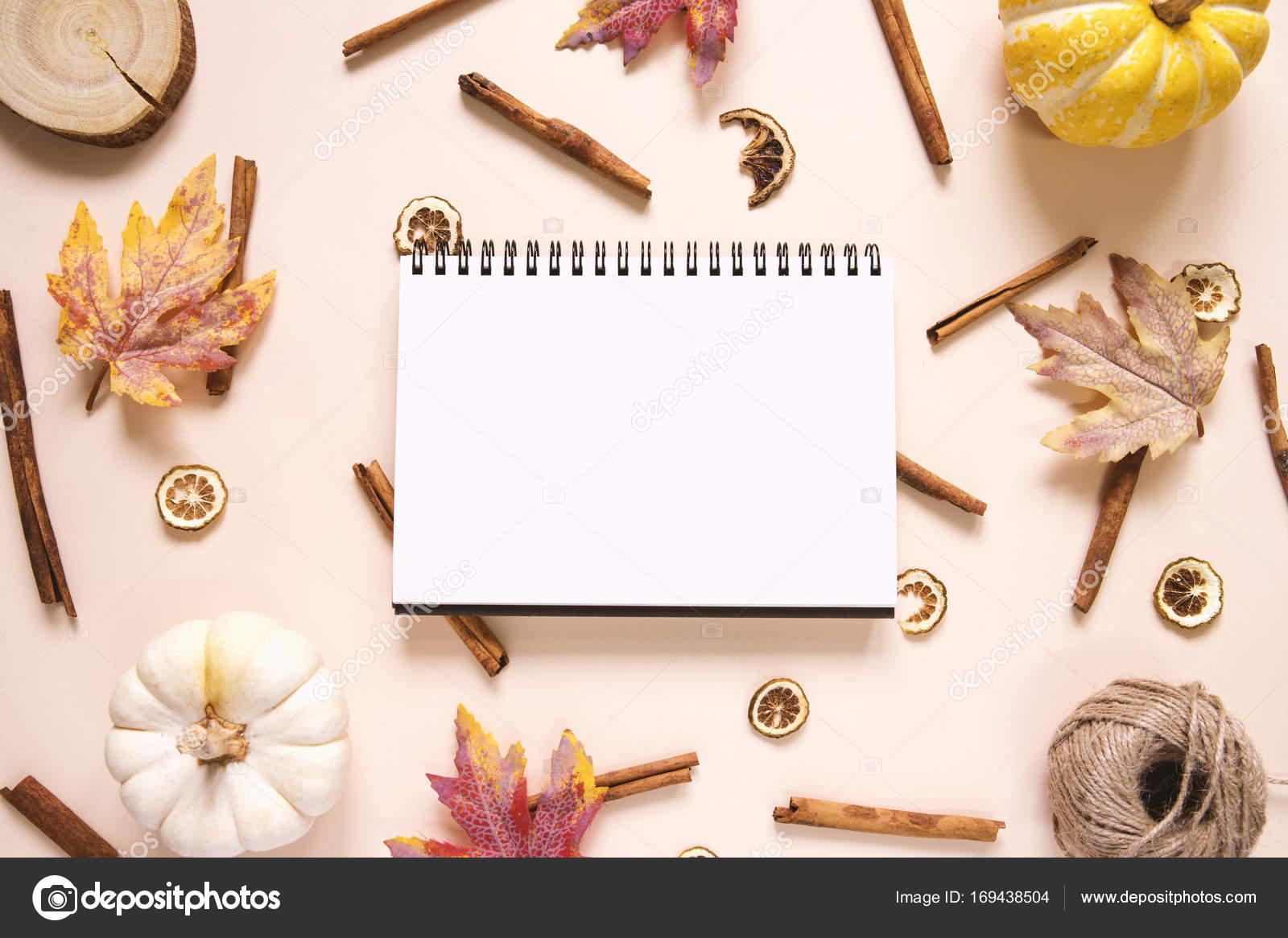 Notebook S Dyni A Listy S Tycinky Skorice Stock Fotografie