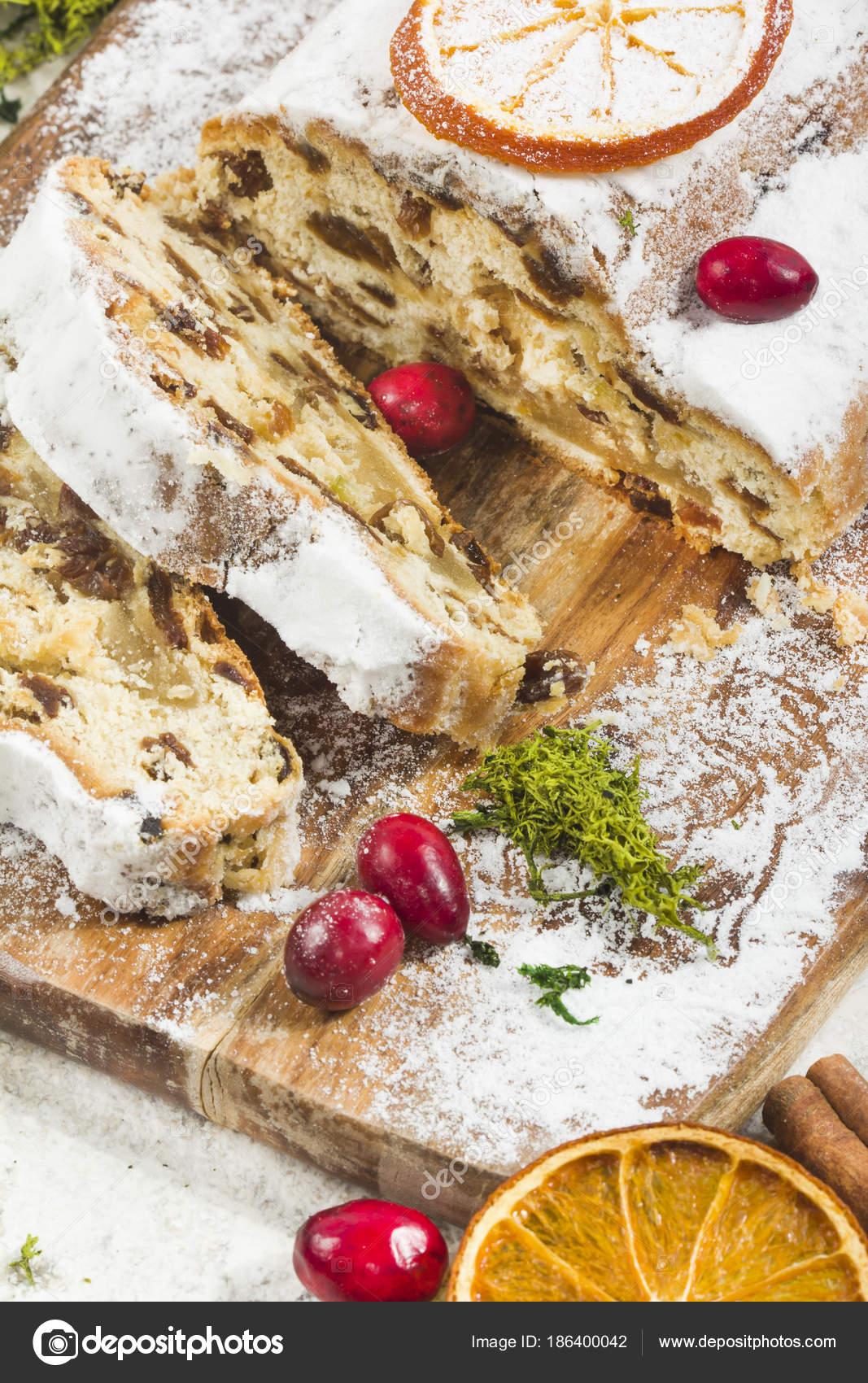 traditional german christmas cake with raisins and marzipan sli stock photo