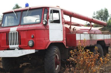 truck  in forest fire