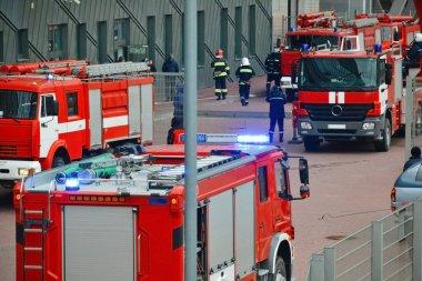 Fire trucks on street