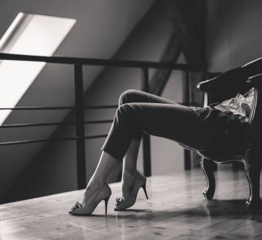 Woman legs  with stylish shoes