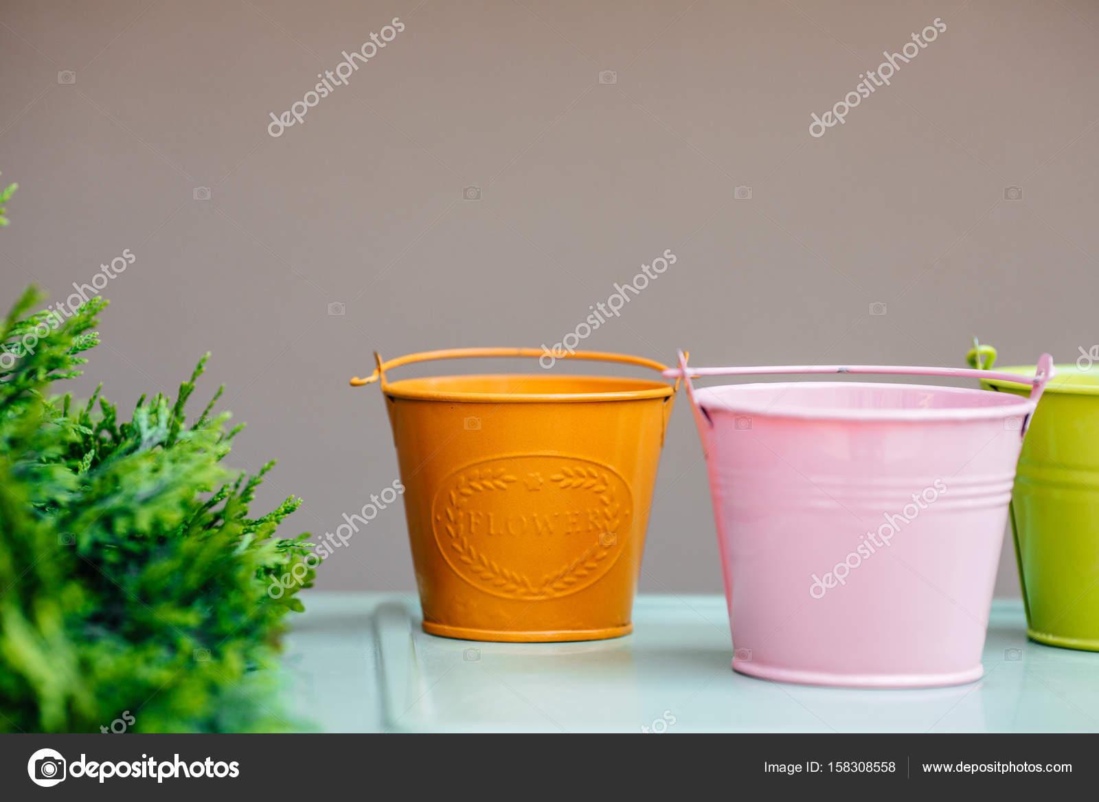Colores Cubetas De Metal Jardinería