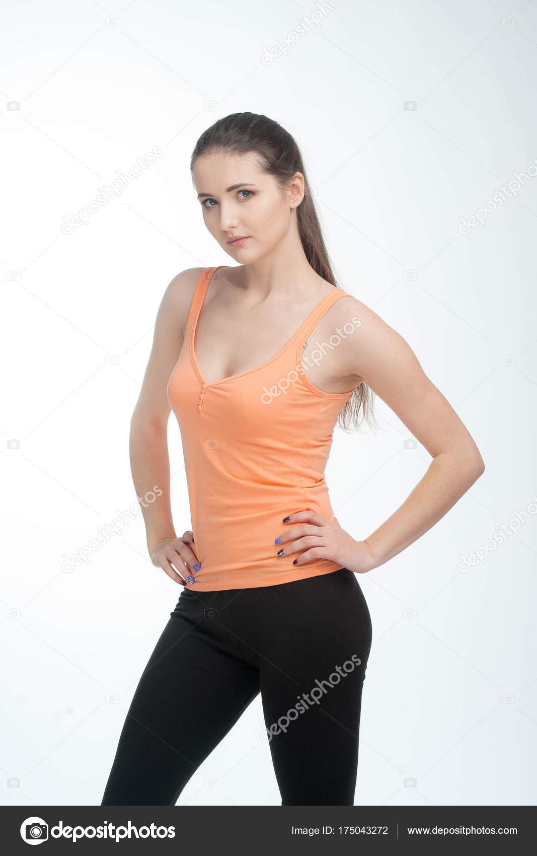 85ed6b520affc Beautiful Fitness Woman Perfect Body Shape Wearing Sport Clothes — Stock  Photo