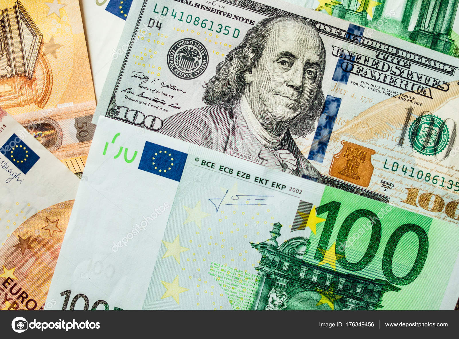 American Us Dollars And Euros Stock Image