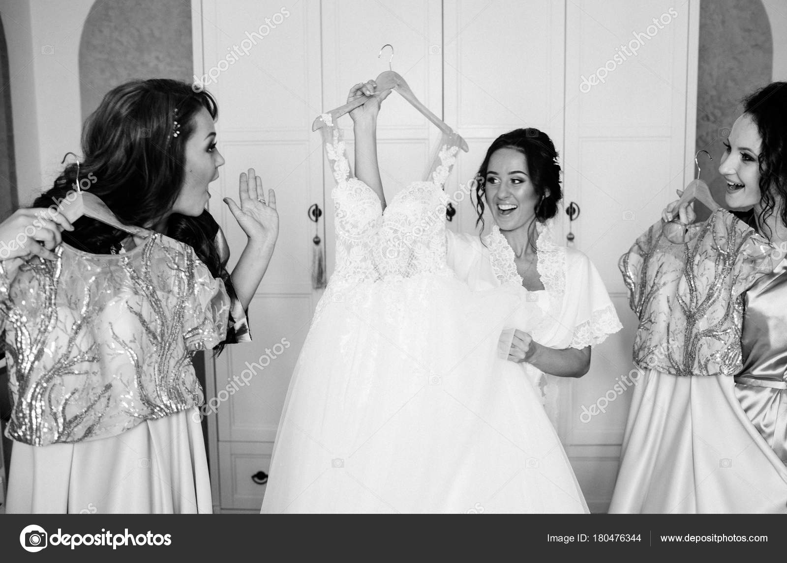 Beautiful Bride Bridesmaids Posing Room Wedding Stock Photo