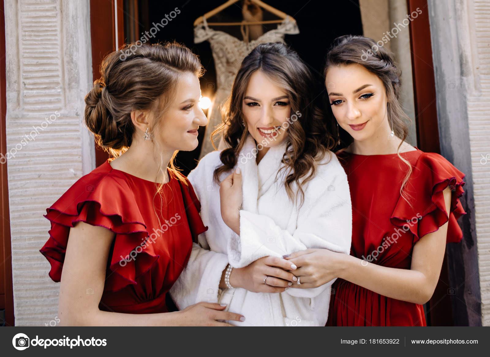 Beautiful Bride Bridesmaids Posing Window Wedding Preparation