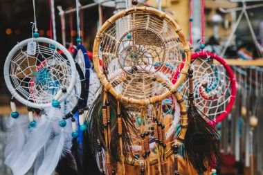 dream catchers decor made of yarns and feathers