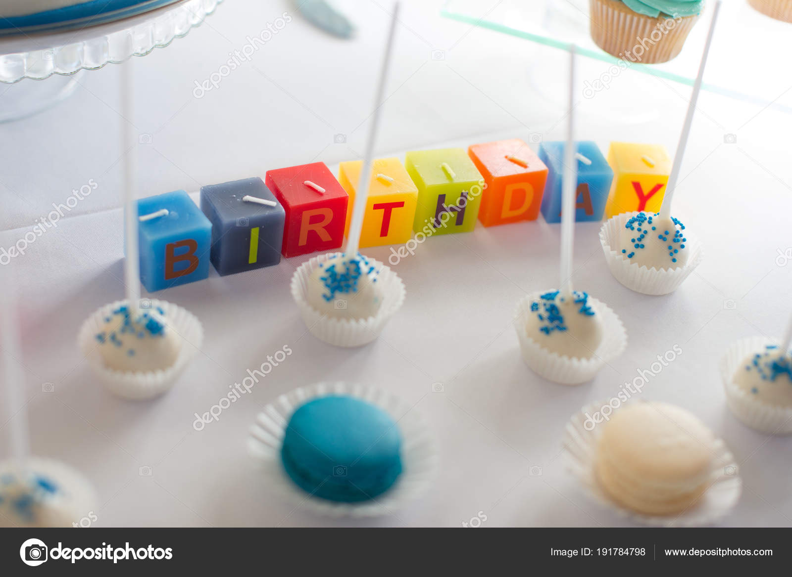 Funny Cake Pops Candles Happy Birthday Background Stock Photo