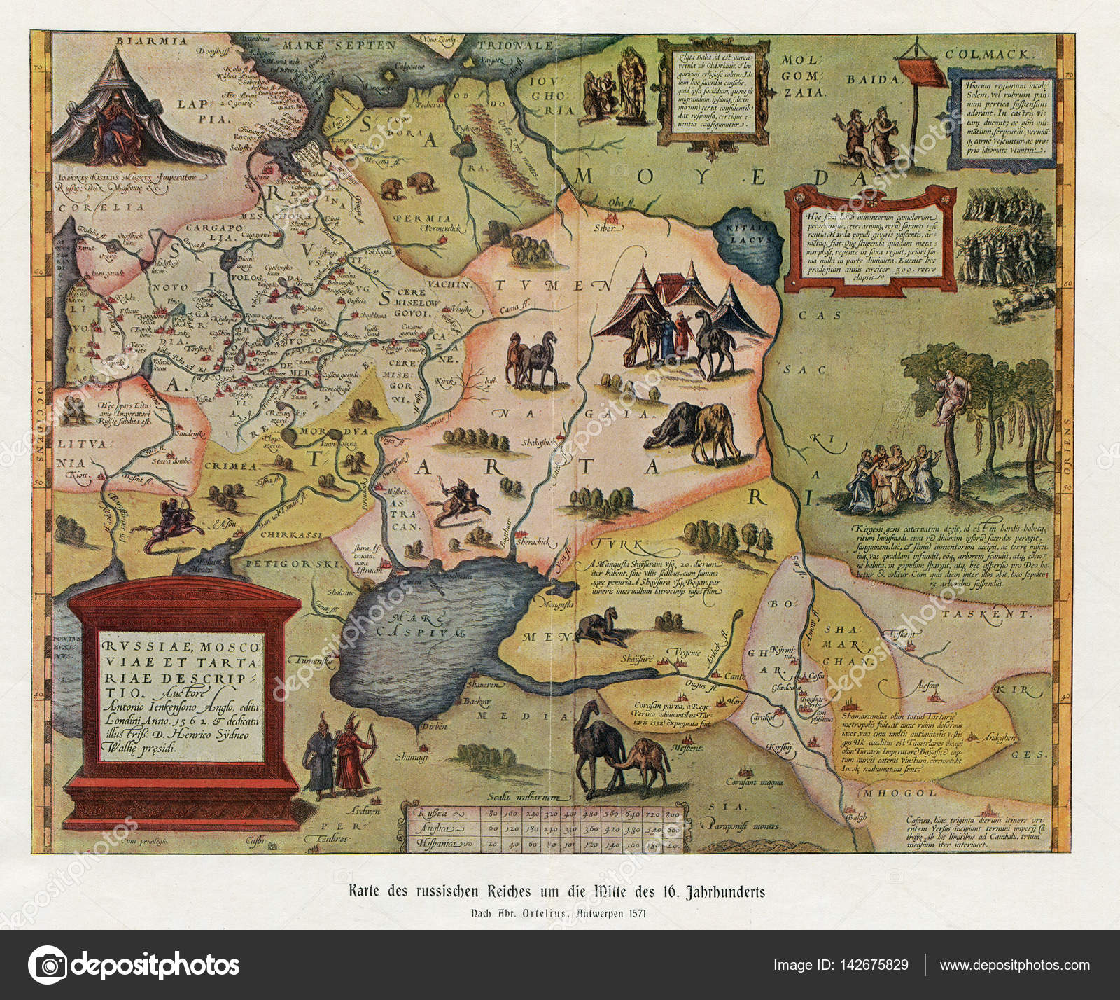 Ancient Map Show Old Russia Empire Moscovia 1571 Stock Photo