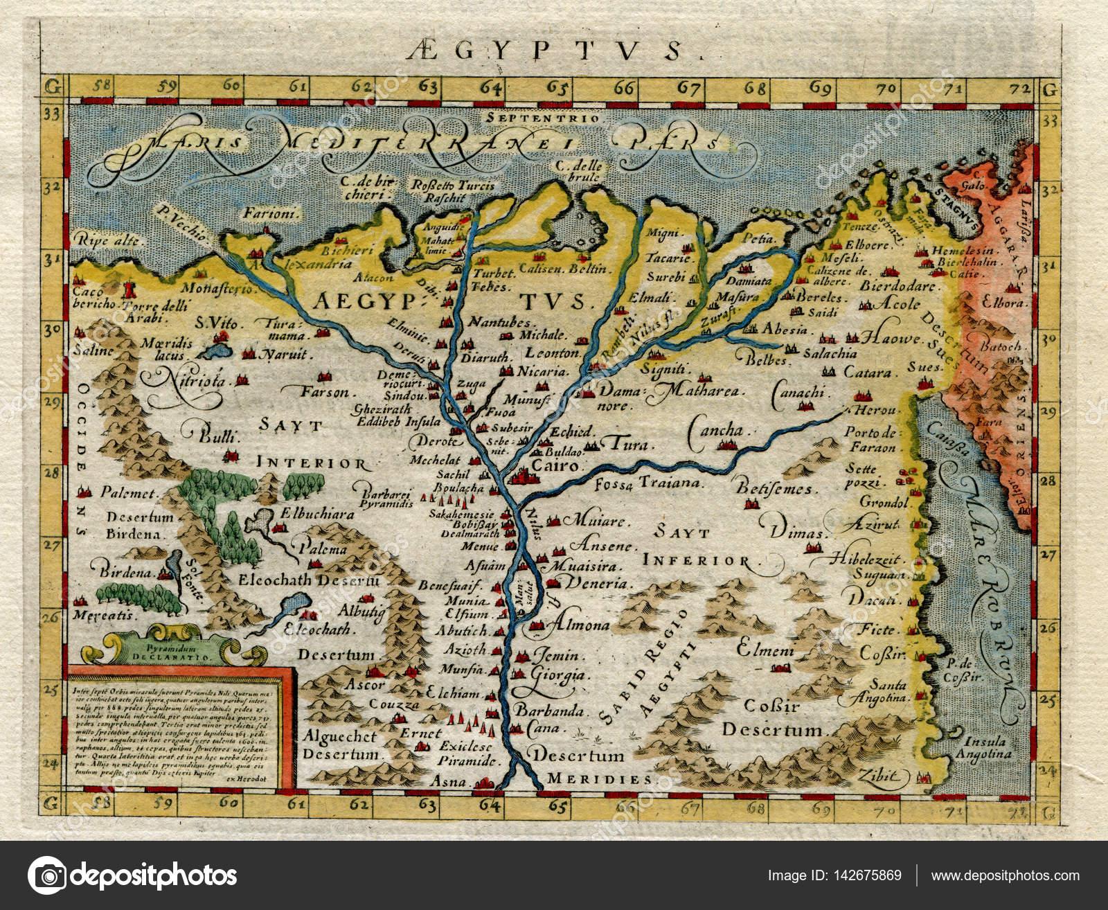 Изображения взяты из оригинальных 1598 античный печати Птолемея карта  Египта в 1598 — Фото автора natthanan.ecgates.com| ...