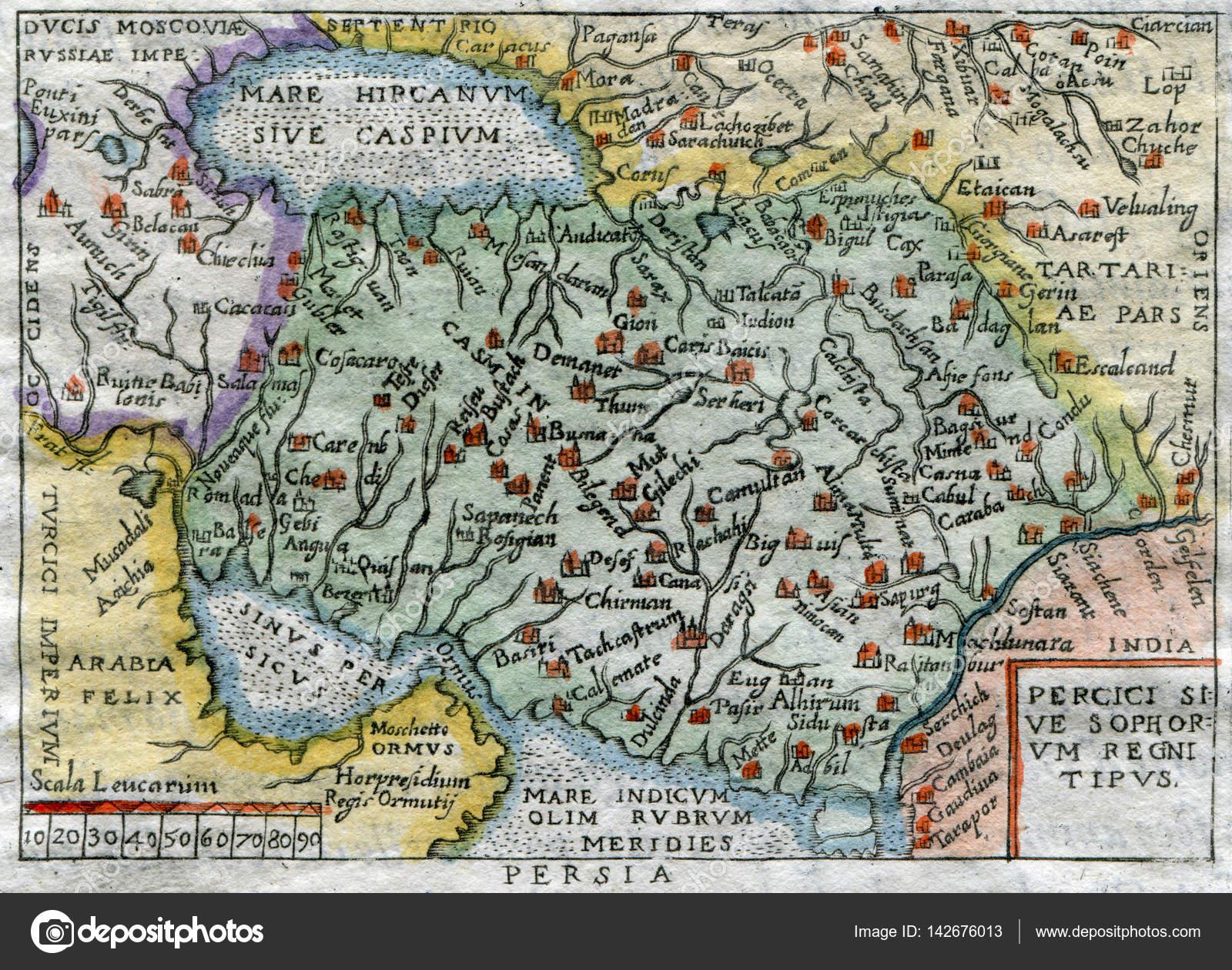 Античный Карта Персии 1599– Стоковое изображение