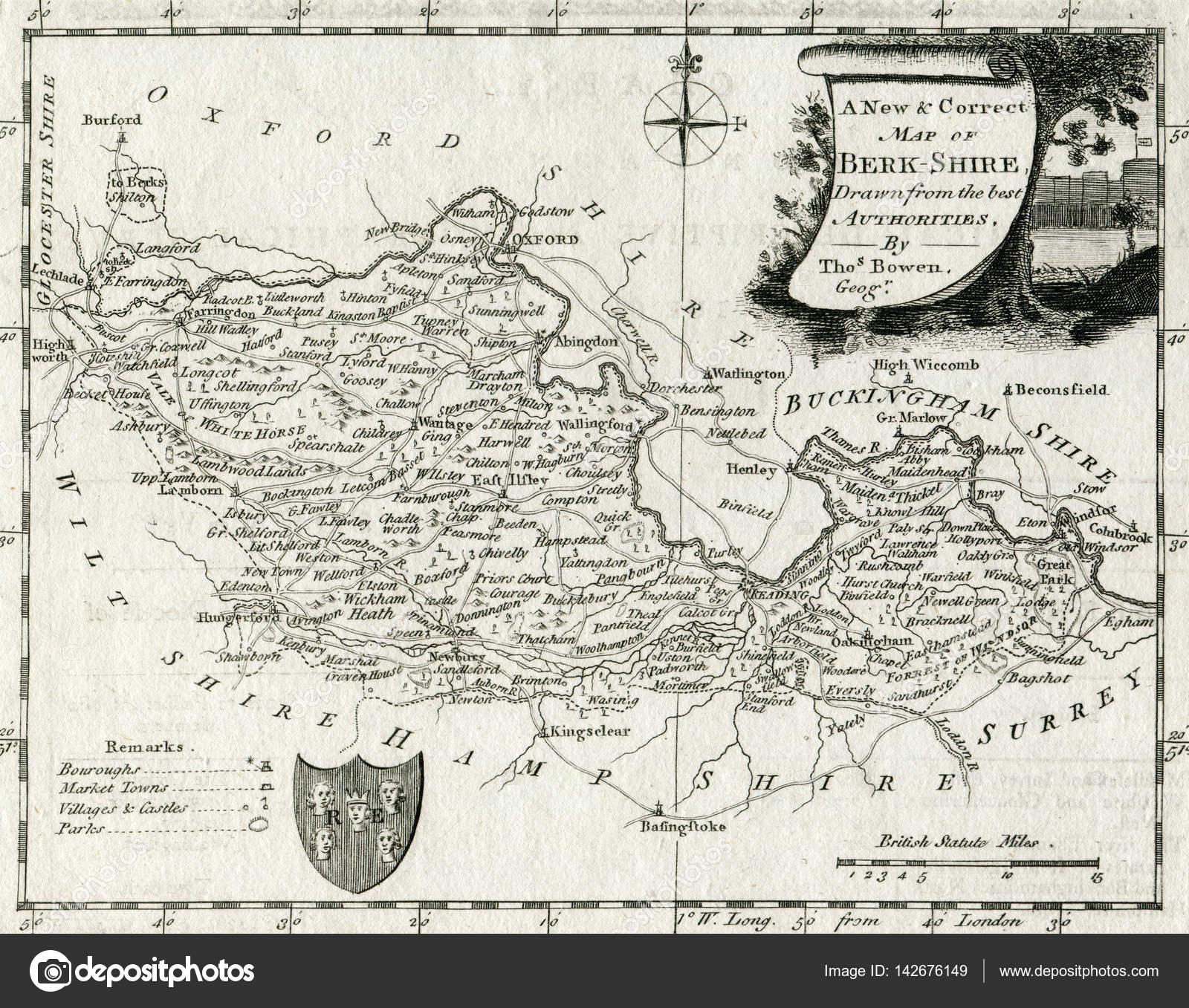 Antique Map 1768 Berkshire England Stock Photo C Natthanan